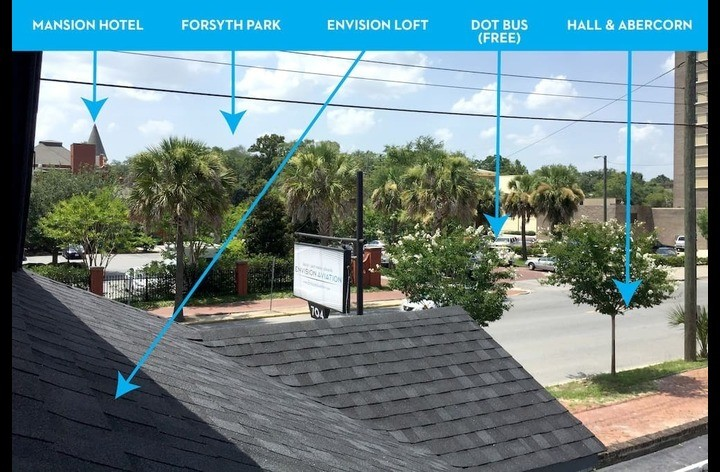 Visual orientation of area outside of loft.